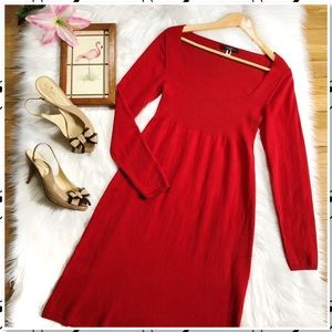 Weekend MaxMara Ribbed Wool Red Sweater Midi Dress